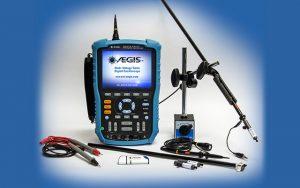 digital oscilloscope to test VFD-controlled motors for damaging shaft voltage