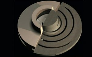 3D model of CHS impeller - half showing the impeller and half showing the RCT core