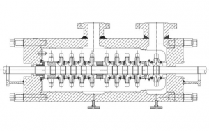 Sulzer Cross section of pump barrel and internals, showing reduction from 10 _ 9 stages.
